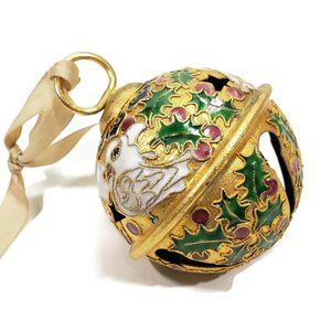 Vintage Cloisonne Ball Christmas Ornament Bell 8""